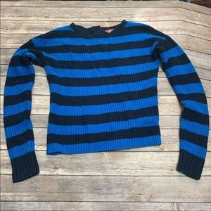 Vince Camuto Blue rugby crew neck striped sweater